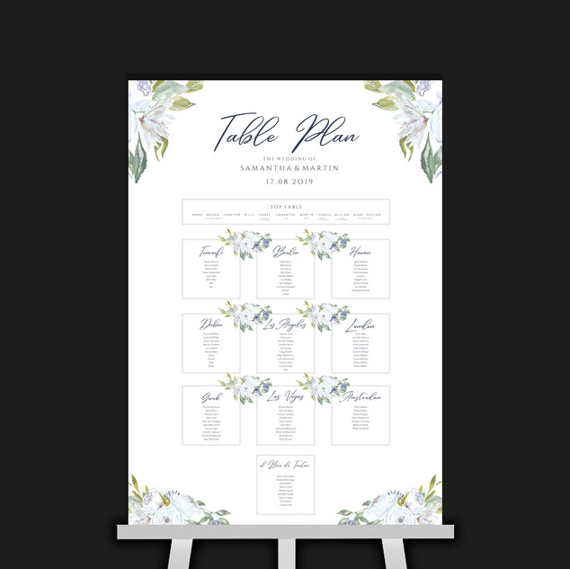 White & Blue Flowers Table Plan