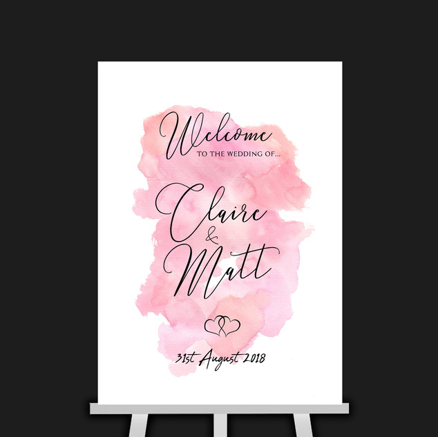 Pink Watercolour Welcome Sign