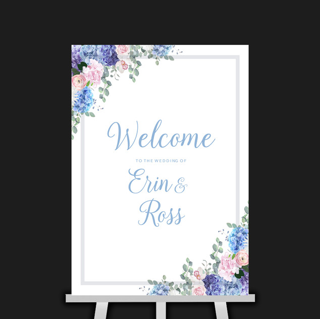 Pink & Blue Flowers Welcome Sign