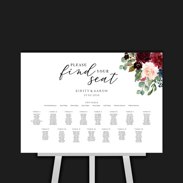 Tartan Flowers Table Plan