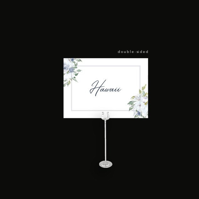 Blue & White Flowers Table Number