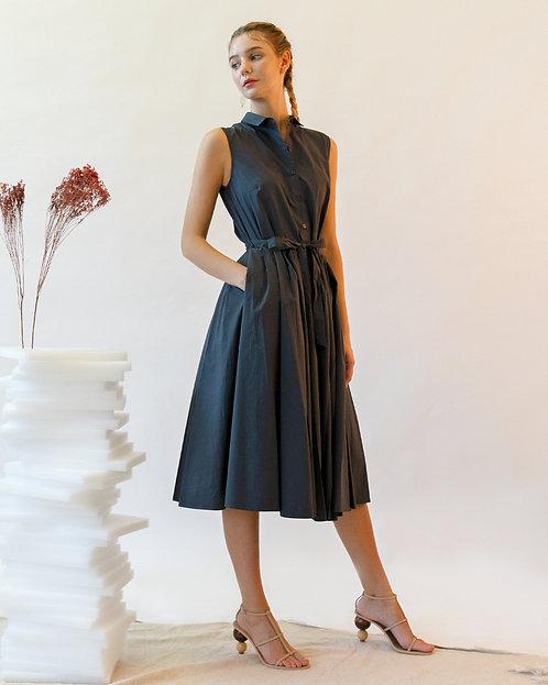 Emin & Paul Sleeveless Pleated Dress - Dark Grey