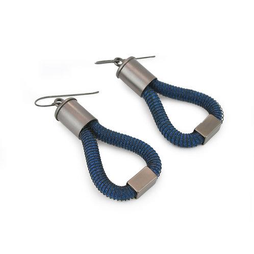 Industrial Jewellery Molly Earrings Blue Dark