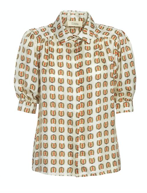 Lisou Betty Orange Fauna Print Silk Shirt