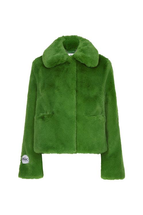 Jakke Tommy Faux Fur Cropped Jacket 'Wear & Care' Green