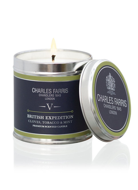 Charles Farris British Expedition Travel Tin Candle Cloves, Tobacco & Mint Tea