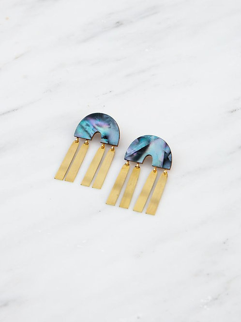 Wolf and Moon Ingrid Earrings Mother of Pearl Blue