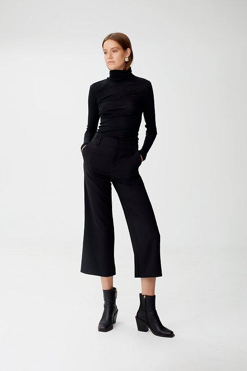 Gestuz Pure Wool Long Sleeve Roll Neck Top Black