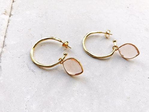 Shyla Oval Champagne Gold Hoops