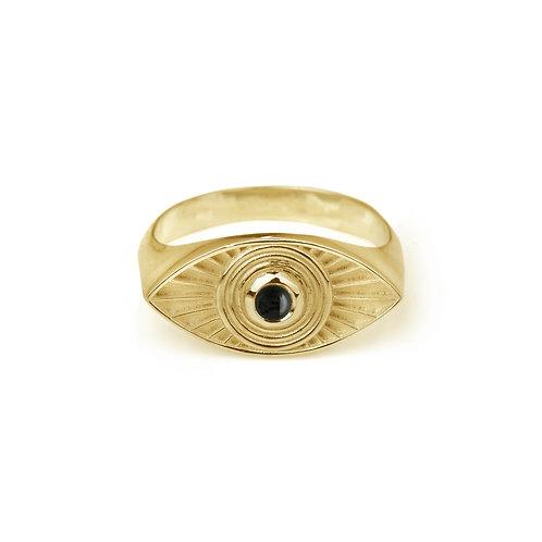 Rachel Entwistle Rays Of Light Ring Gold - Black Onyx