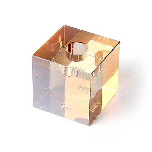 HKLiving Crystal Glass Candle Holder Amber Cube