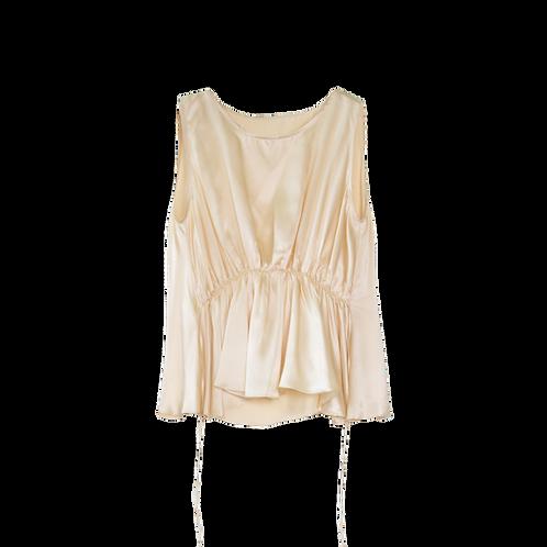 Emin + Paul Horizontal Shirring Silk Blouse - Beige
