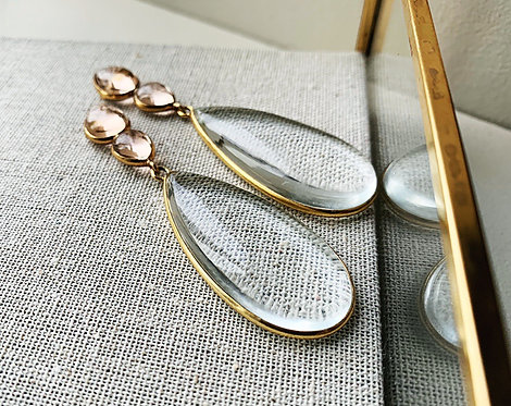 Shyla Perrin Clear Hydro and Soft Champagne Earrings