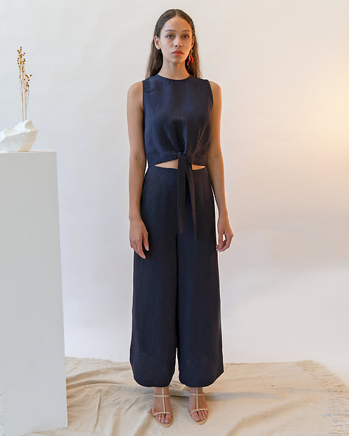 Emin & Paul Navy side split linen blend trousers