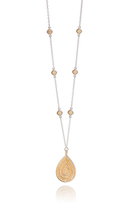 Anna Beck Signature Beaded Cushion & large teardrop Necklace Gold