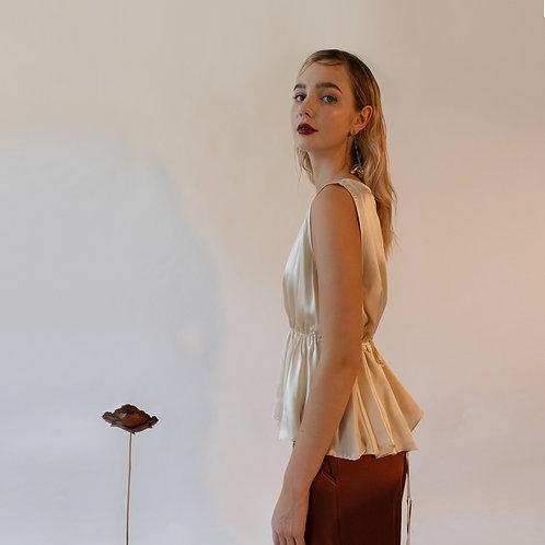 Emin & Paul Horizontal Shirring Silk Blouse