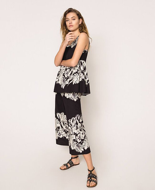 Twinset floral poplin cropped trousers
