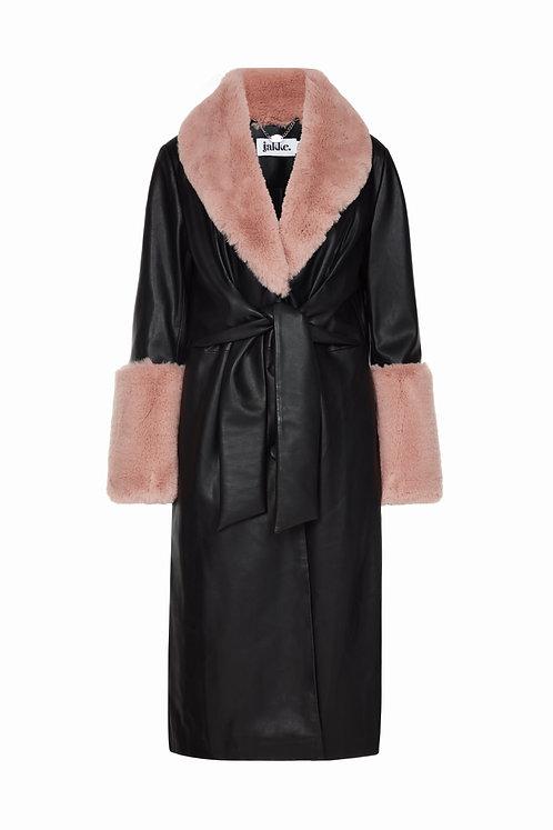 Jakke Tilda Faux Leather Belted Jacket With Fur Trim Black/Pink