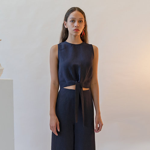 Emin & Paul Navy Cropped Sleeveless Top With Bow