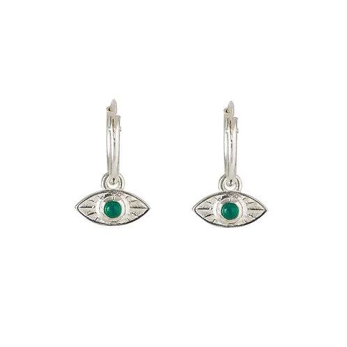 Rachel Entwistle Rays of Light Mini Hoops Silver - Green Onyx