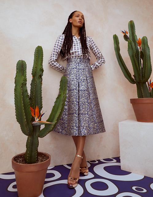 Lisou Eva Metallic Blue Bubble Print Jacquard Skirt