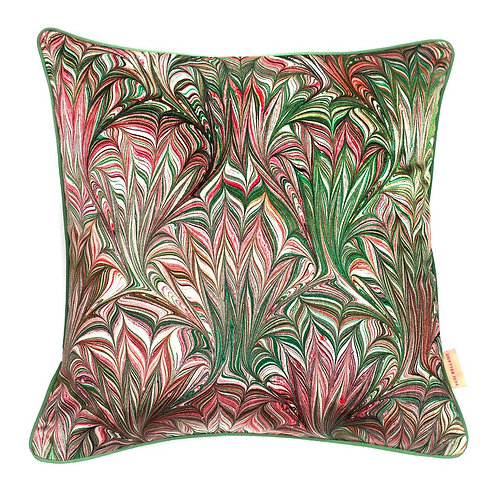 Susi Bellamy Green Feathered Velvet Square Cushion