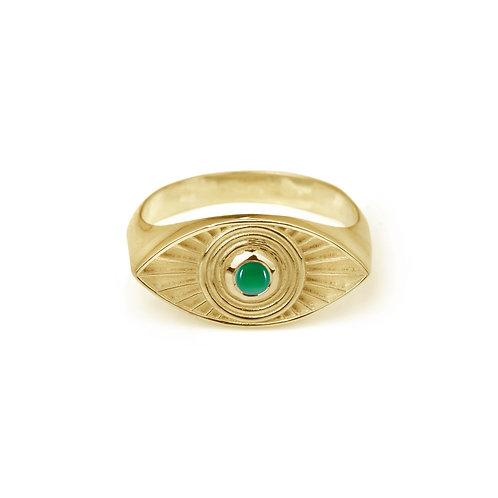 Rachel Entwistle Rays Of Light Ring Gold - Green Onyx