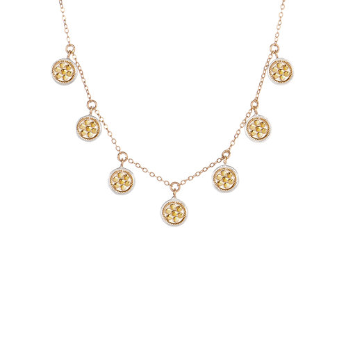 Anna Beck Mini Disc Charm Necklace Gold and Silver