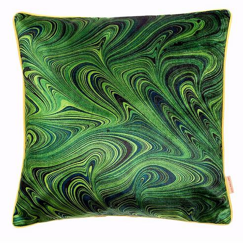 Susi Bellamy Malachite Marbled Velvet Square Cushion