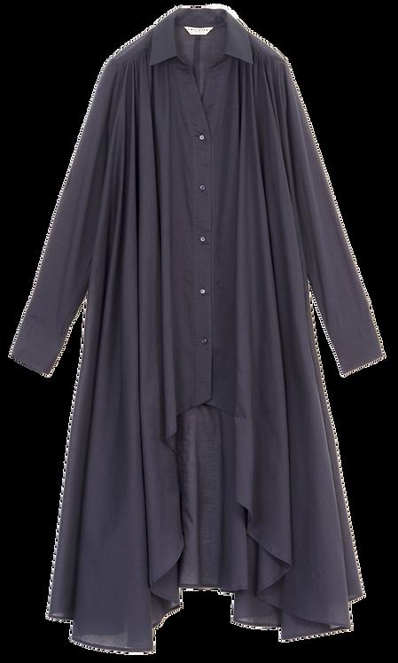 Emin & Paul Long Sleeve Button Down High-Low Dress - Navy