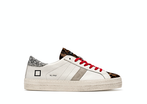D.A.T.E. Hill Low Pony White-Leopard Trainers