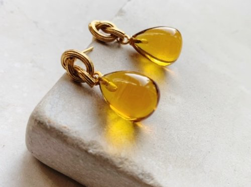Synthea Drop Earrings Citrine Smooth