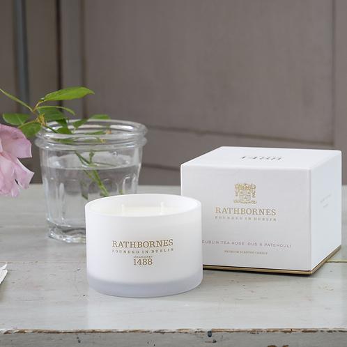 Rathbornes Dublin Tea Rose, Oud & Patchouli Scented Luxury Candle