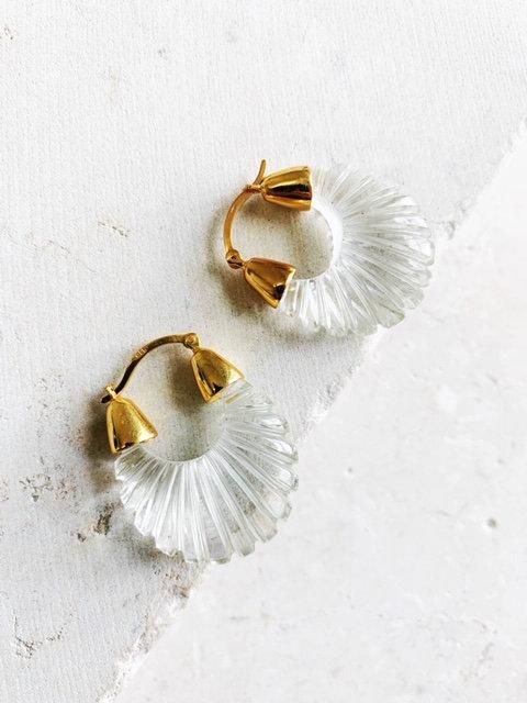 Shyla Ettienne Crystal Clear Ridged Earrings