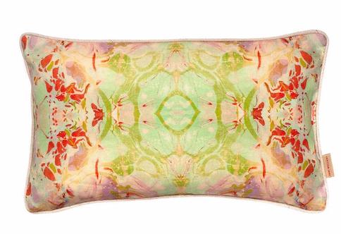 Susi Bellamy Indian Summer Kaleidoscope Marbled Linen Medium Oblong Cushion