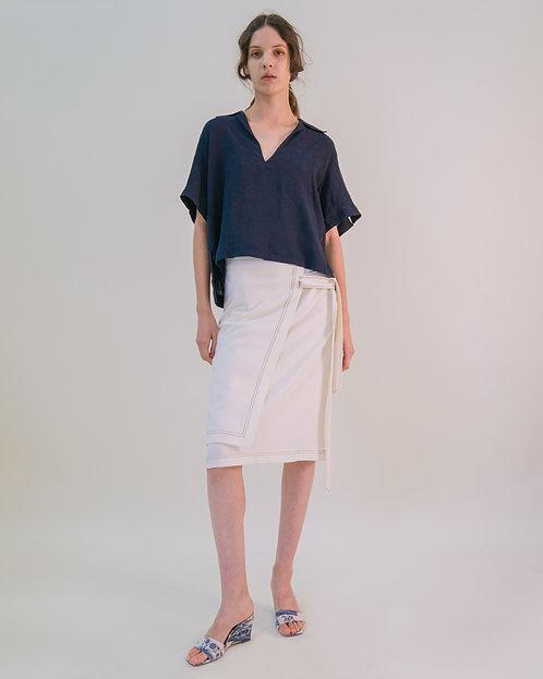 Emin + Paul Double Layer Tie Belt Wrap Skirt - Cream