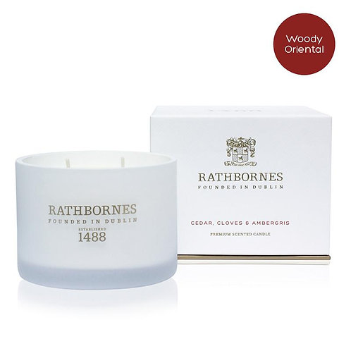 Rathbornes Cedar, Cloves & Ambergris Scented Classic Candle