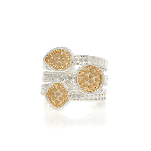 Anna Beck Triple Beaded Ring Gold and Silver