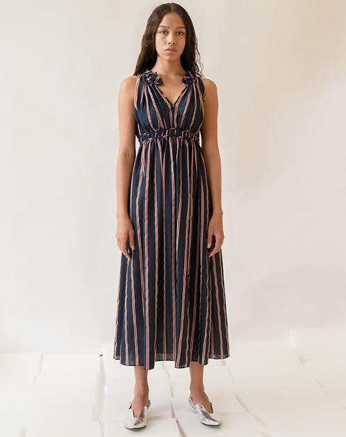Emin + Paul Navy-Stripe Gathered Dress