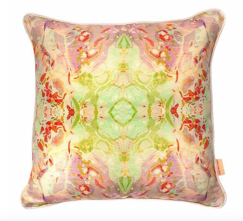 Susi Bellamy Indian Summer Kaleidoscope Marbled Linen Square Cush