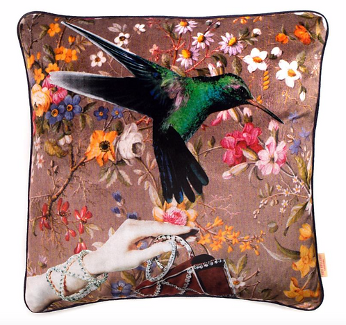 Susi Bellamy Bird and Hand Collaged Velvet Square Cushion
