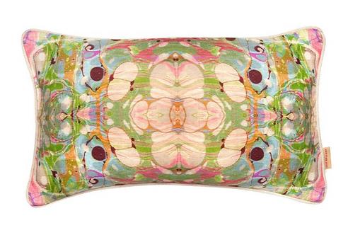 Susi Bellamy Beige Ripple Kaleidoscope Marbled Linen Oblong Cushion