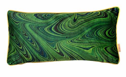 Susi Bellamy Malachite Marbled Velvet Oblong Cushion