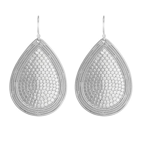 Anna Beck Large Dotted Teardrop Earrings Silver