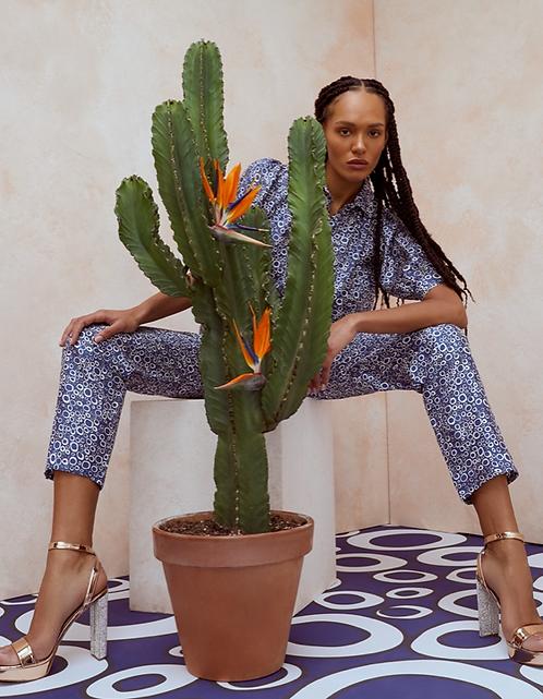 Lisou Salome Blue Bubble Print Silk Trousers