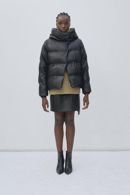 Jakke Patricia Faux Leather Puffer Jacket Chestnut