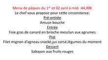 Menu de pâques du 01et 02 avril à midi
