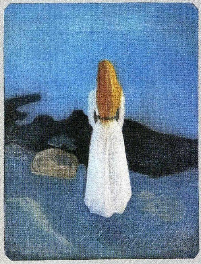 Jovem mulher na praia, Eduard Munch, 1896