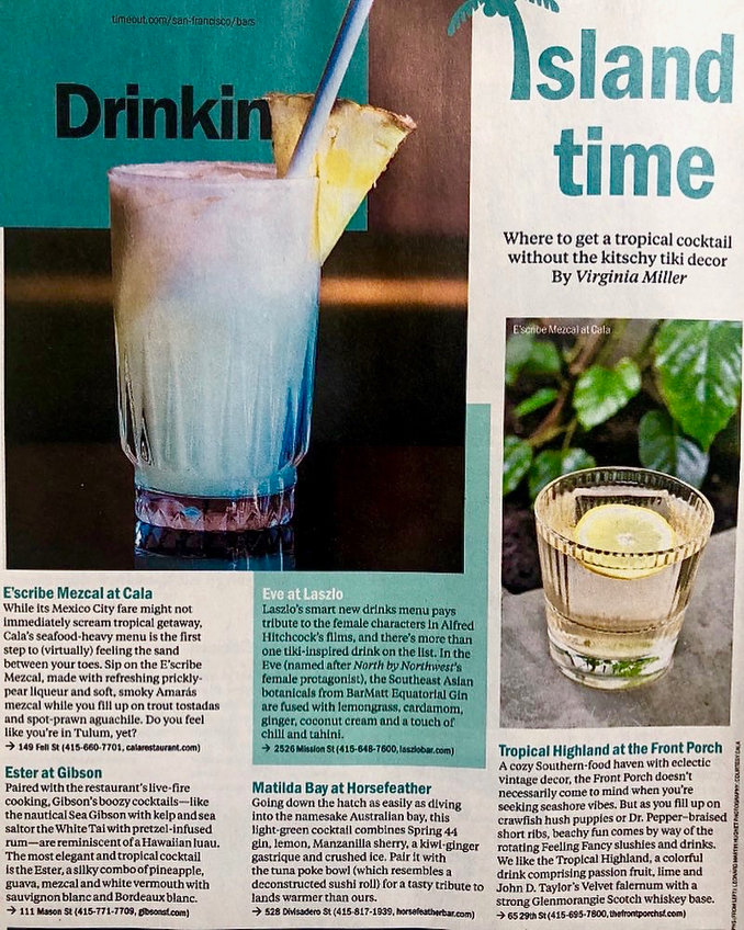 Tropical Cocktails for Timeout SF Magazine. 2018