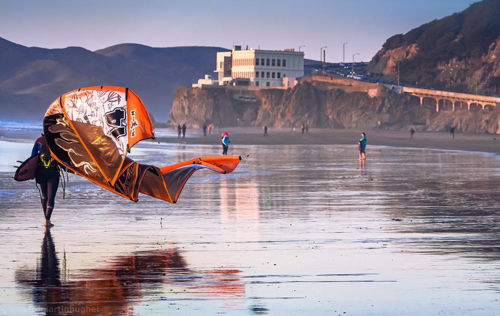 kite surfer sunset